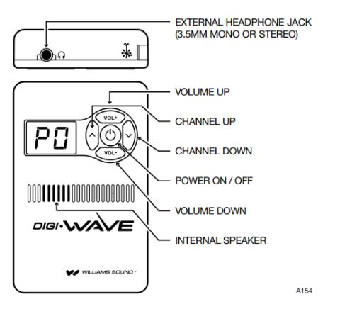 DLR 50 Digiwave Receiver Williams Sound-buttons