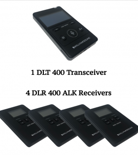 Ultra Portable Translation System with 1 DLT 400 Transceiver and 4 DLR 400 ALK Receivers