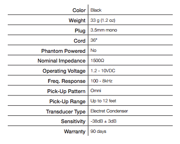 mic 049 williams sound technical specs