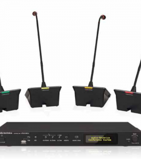 ATUC-50 Digital Discussion System components. Control unit, discussion unite and gooseneck microphones