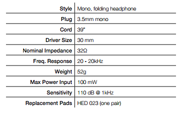 HED 021 Headphone Specifications