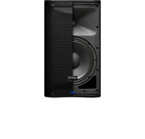 Presonus AIR10 loudspeaker split photo showing half with the grill and the other half with the speakers underneath