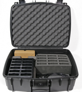CHG 1012 PRO charger carry case with 12 bay charger and 12 slot foam insert
