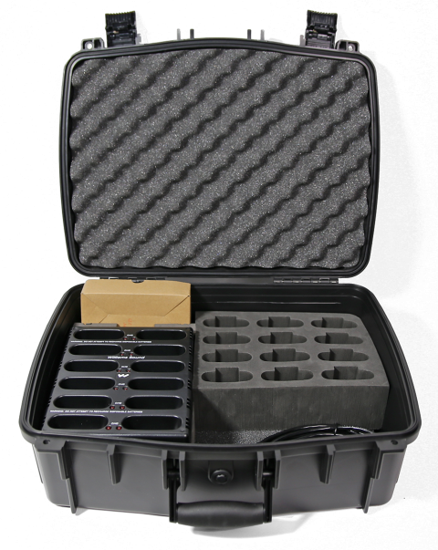 CHG 3512 PRO Carry Case with 12 bay charger and 12 slot foam insert