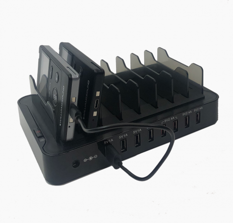 CHG 408 8 slot charger rear view showing DLR 400 RCH and DLT 400 charging