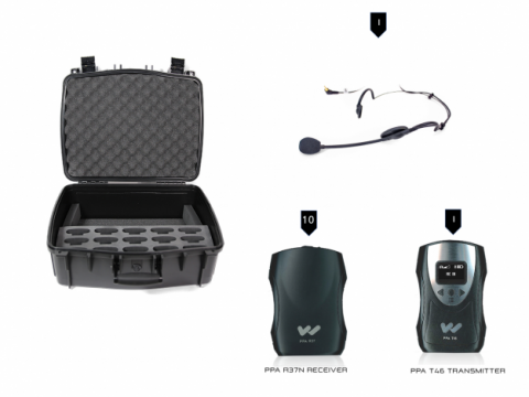 TGS PRO737 10 person fm tour guide system with case