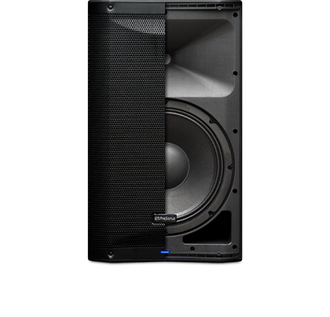 Presonus AIR12 loudspeaker split photo showing half with the grill and the other half the speakers underneath