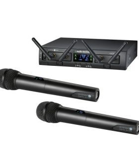 Audio Technica ATW-1322 Wireless Microphone System including receiver and 2 handheld microphones