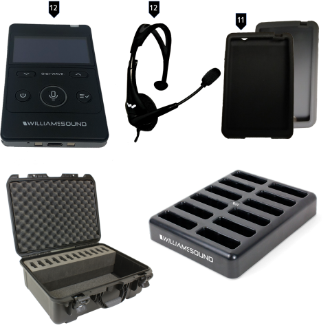 DWS TGS VIP12 400 Two-way tour guide system components with case