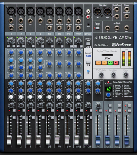 Presonus AR12c 12 channel powered mixer top of console
