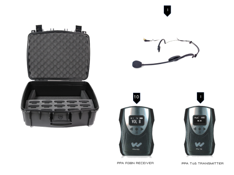 TGS PRO738 FM Tour Guide System components with case