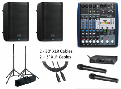 full Conference pa system components including mixer, wireless mics, speakers, stands and cables