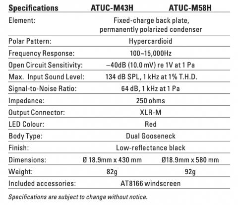 Photo of ATUC-M43H / ATUC-M58H Gooseneck Microphones specs 2